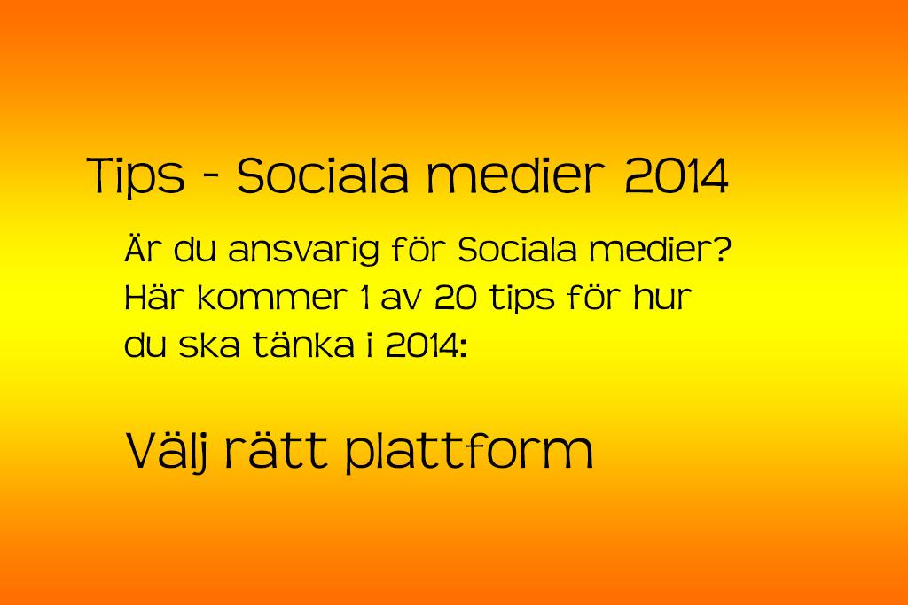 Sociala Medier 2014 - rätt plattform