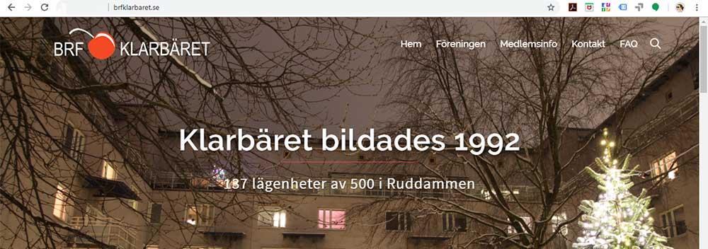 Bostadsrättsförening startsida hemsida